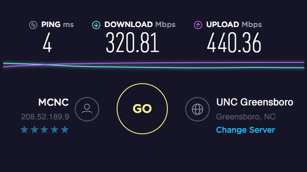 speedtest results display download and upload speeds and IP address