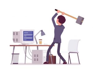 Illustration of man getting ready to hit his computer with a sledgehammer
